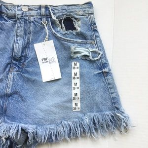 Zara Shorts - Zara Trafaluc Denim Skort Jean Blue Fray Distress